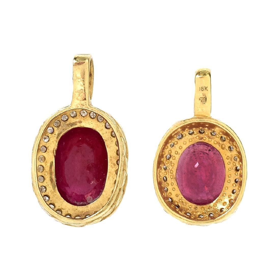 Two Gemstone and Gold Pendants - 3
