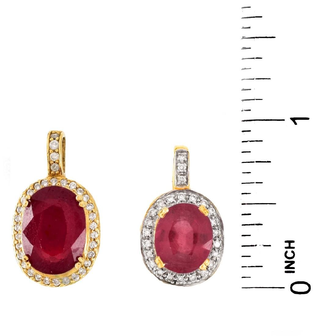 Two Gemstone and Gold Pendants - 4