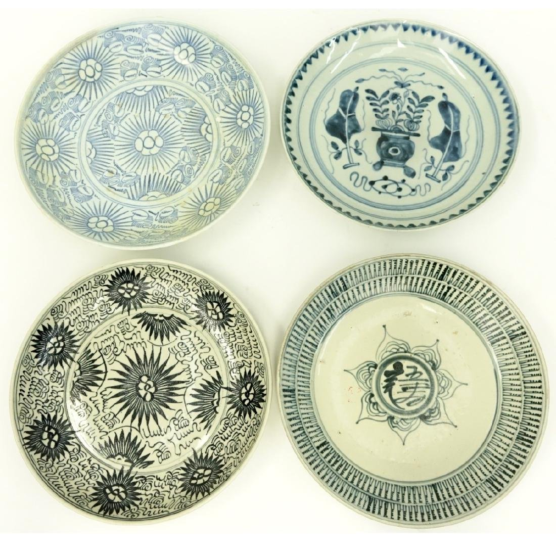 4 Antique Chinese Blue & White Ceramic Bowls
