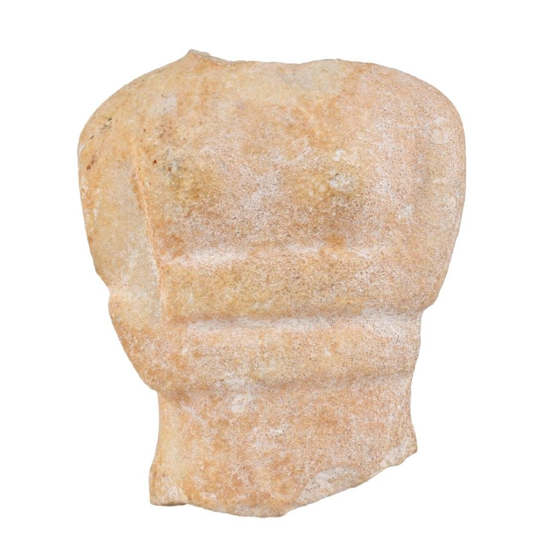 A Cycladic Marble Torso Mounted on Marble Stand