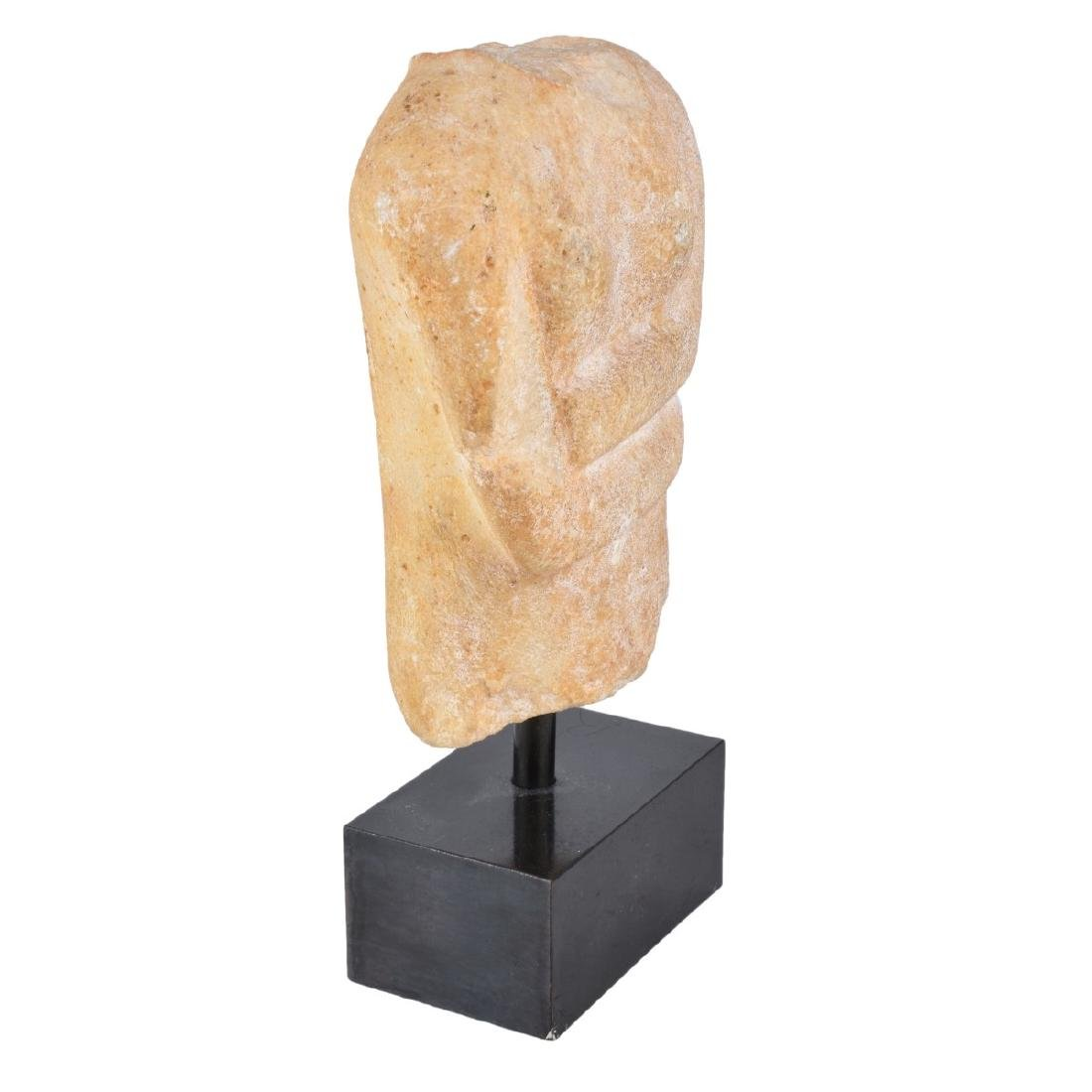 A Cycladic Marble Torso Mounted on Marble Stand - 3