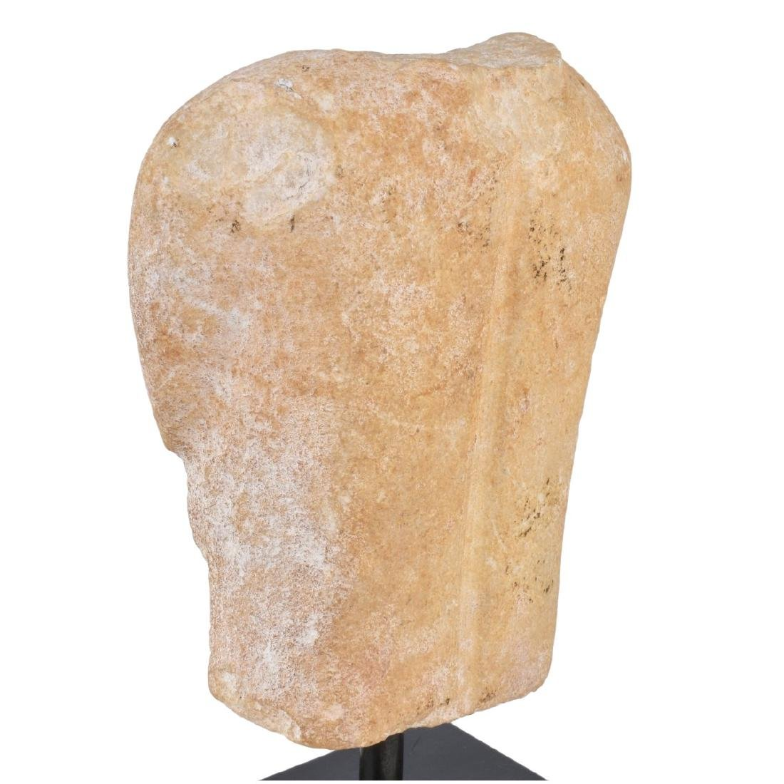 A Cycladic Marble Torso Mounted on Marble Stand - 4