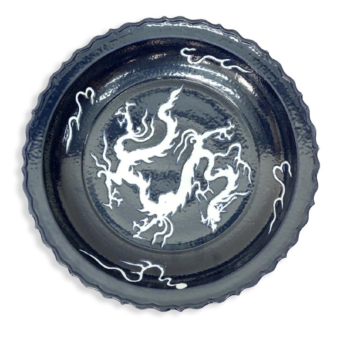 Chinese Blue Glaze Pottery Charger with Dragon