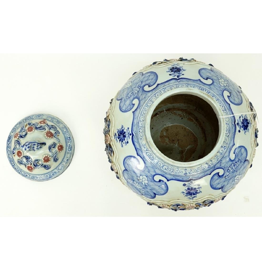 Chinese Ming Style Blue and White Covered Vase - 3