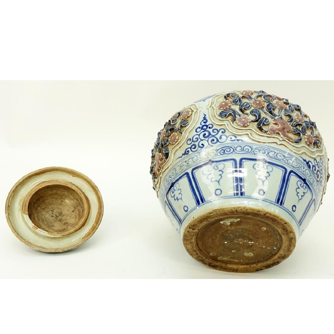Chinese Ming Style Blue and White Covered Vase - 4