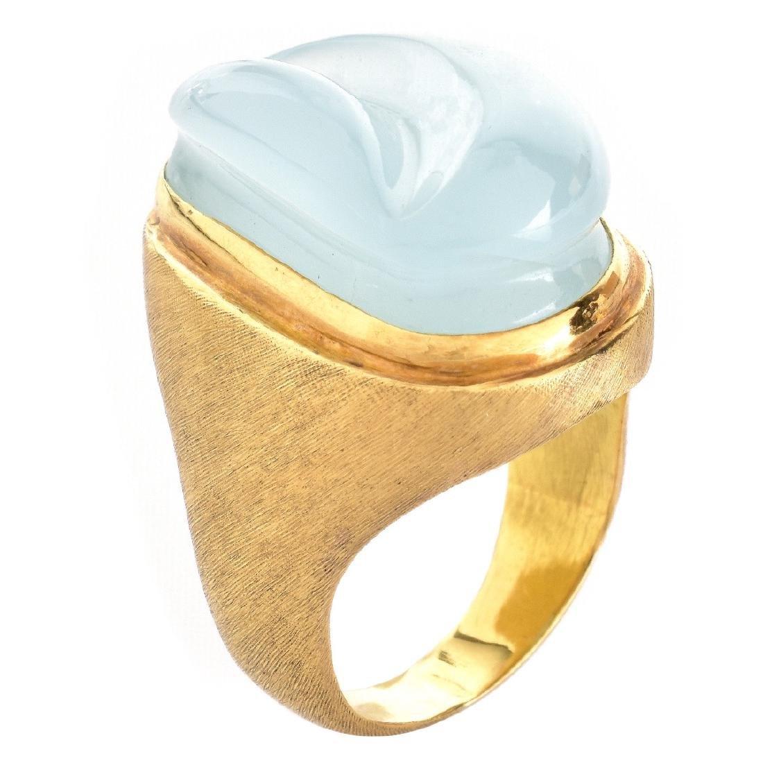 H. Burle Marx Aquamarine and 18K Gold Ring