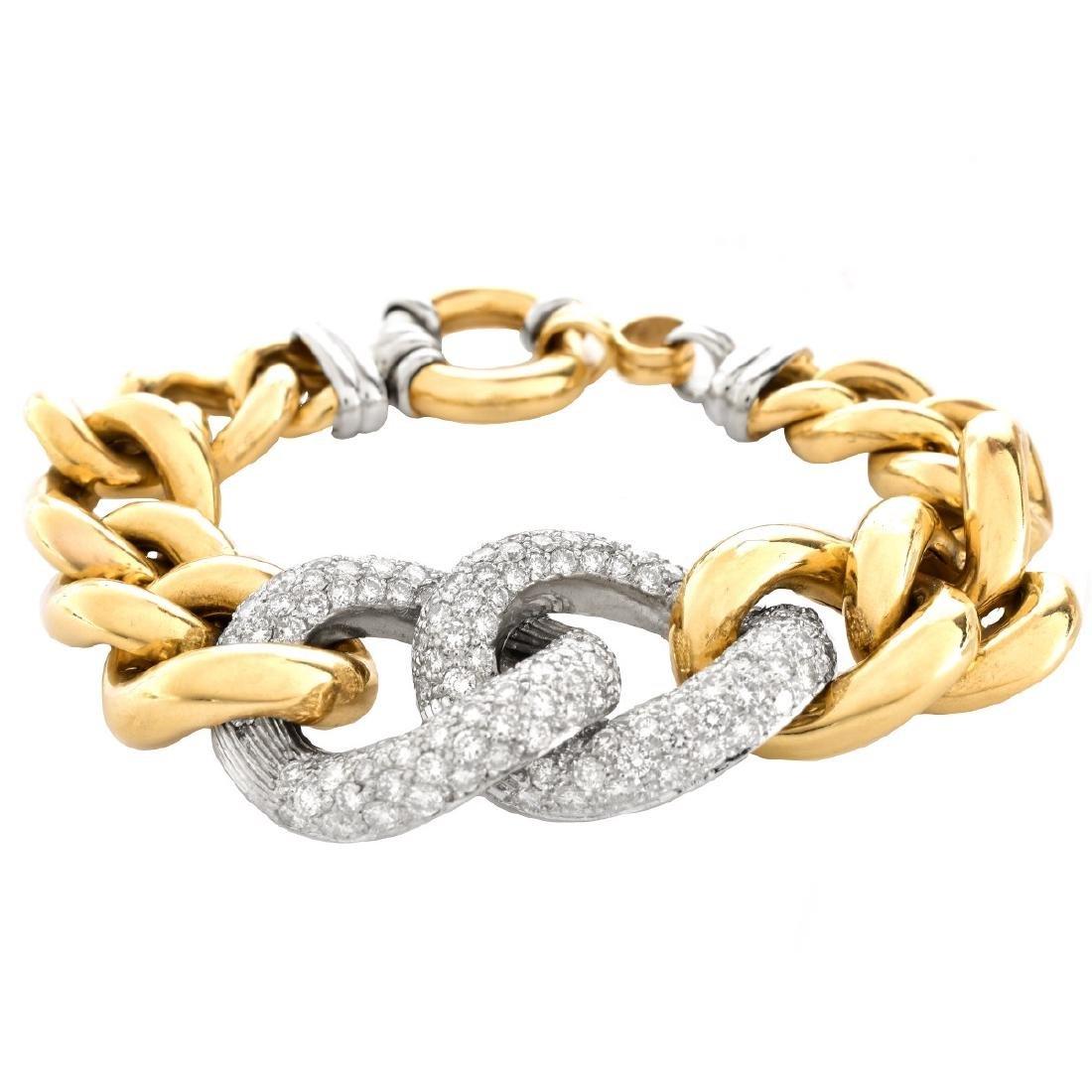 Vintage Italian Diamond and 18K Gold Bracelet