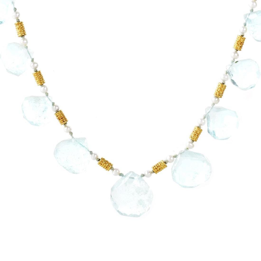Aquamarine and 22K Gold Necklace