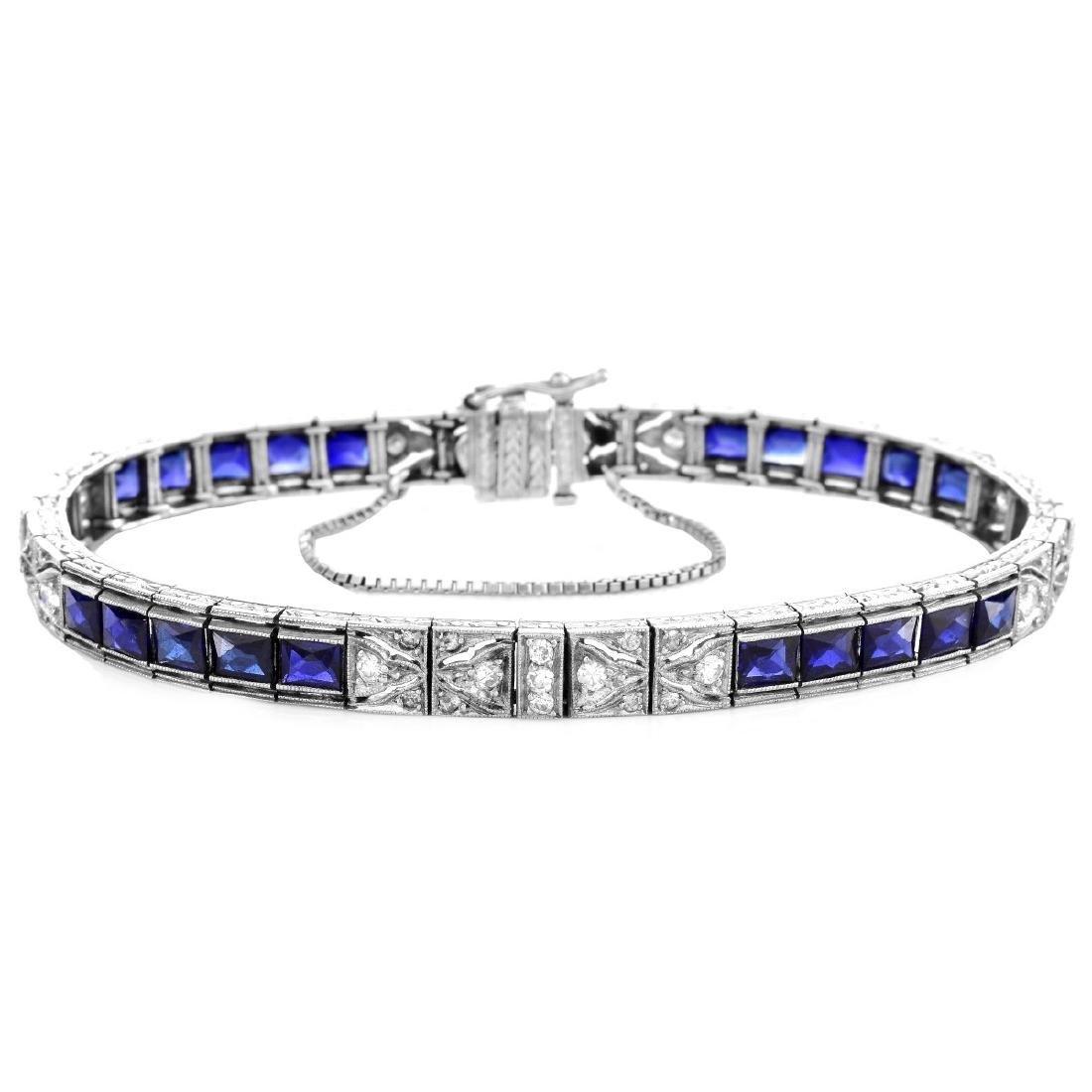 Art Deco Diamond, Sapphire and Platinum Bracelet