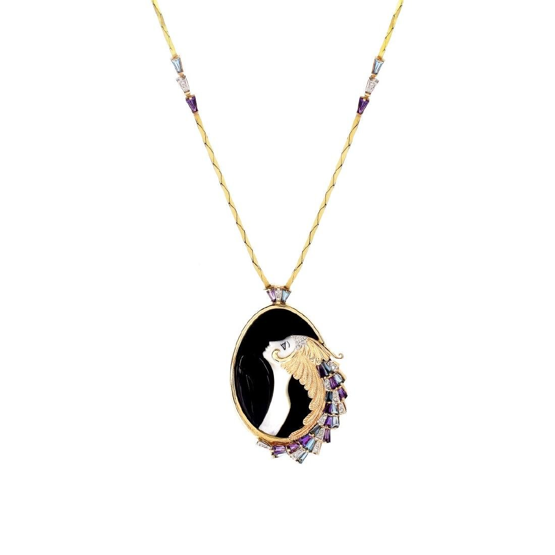 "Erte Pendant Necklace ""Beauty and the Beast"""