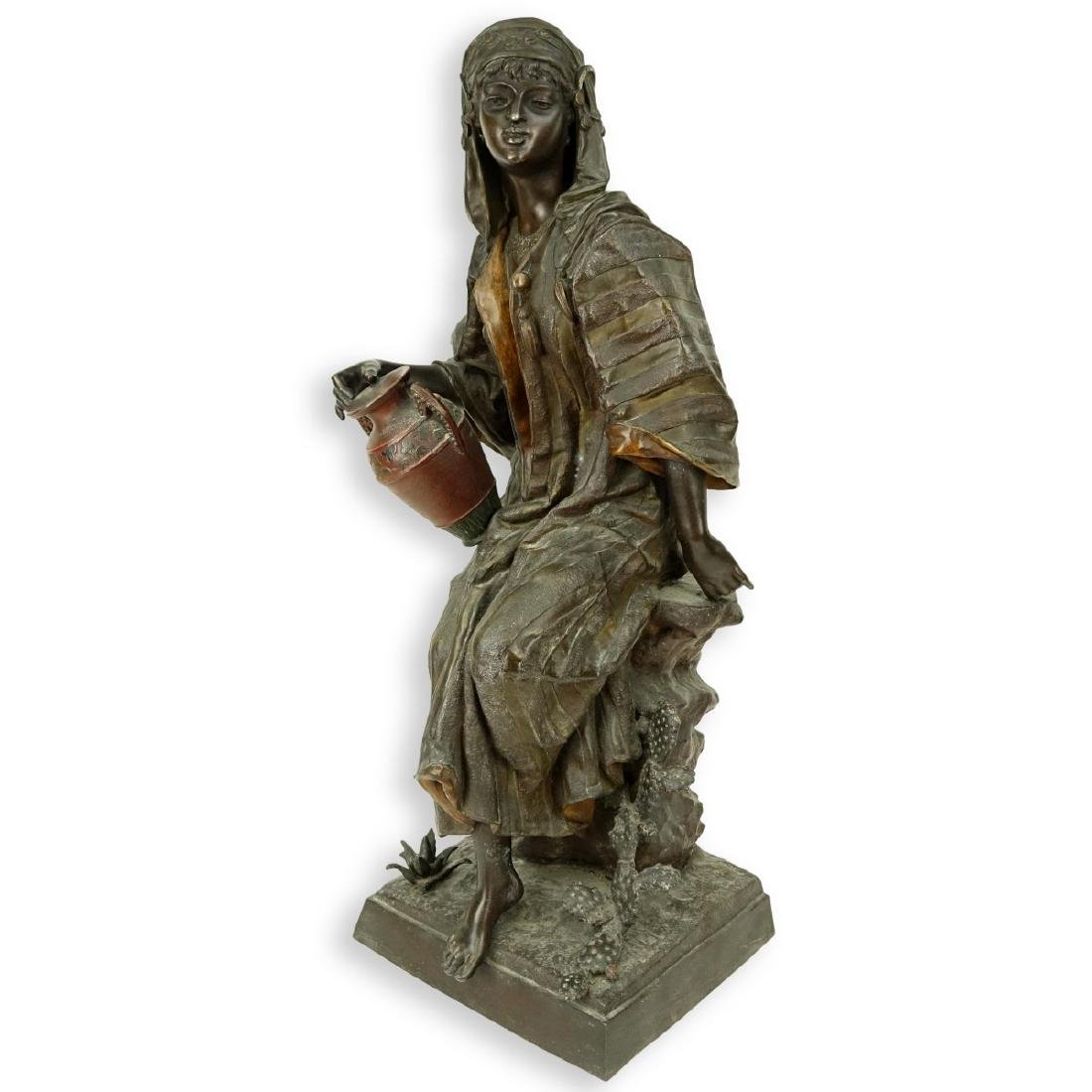 Antique Polychrome Spelter Orientalist Female