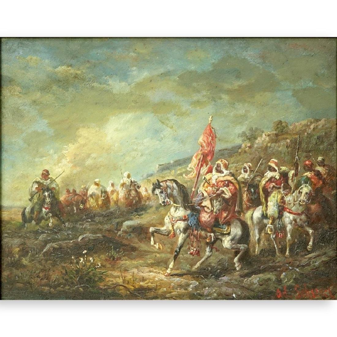 """Attributed to: Adolph Shreyer Oil/Panel """"Arab War"""""""