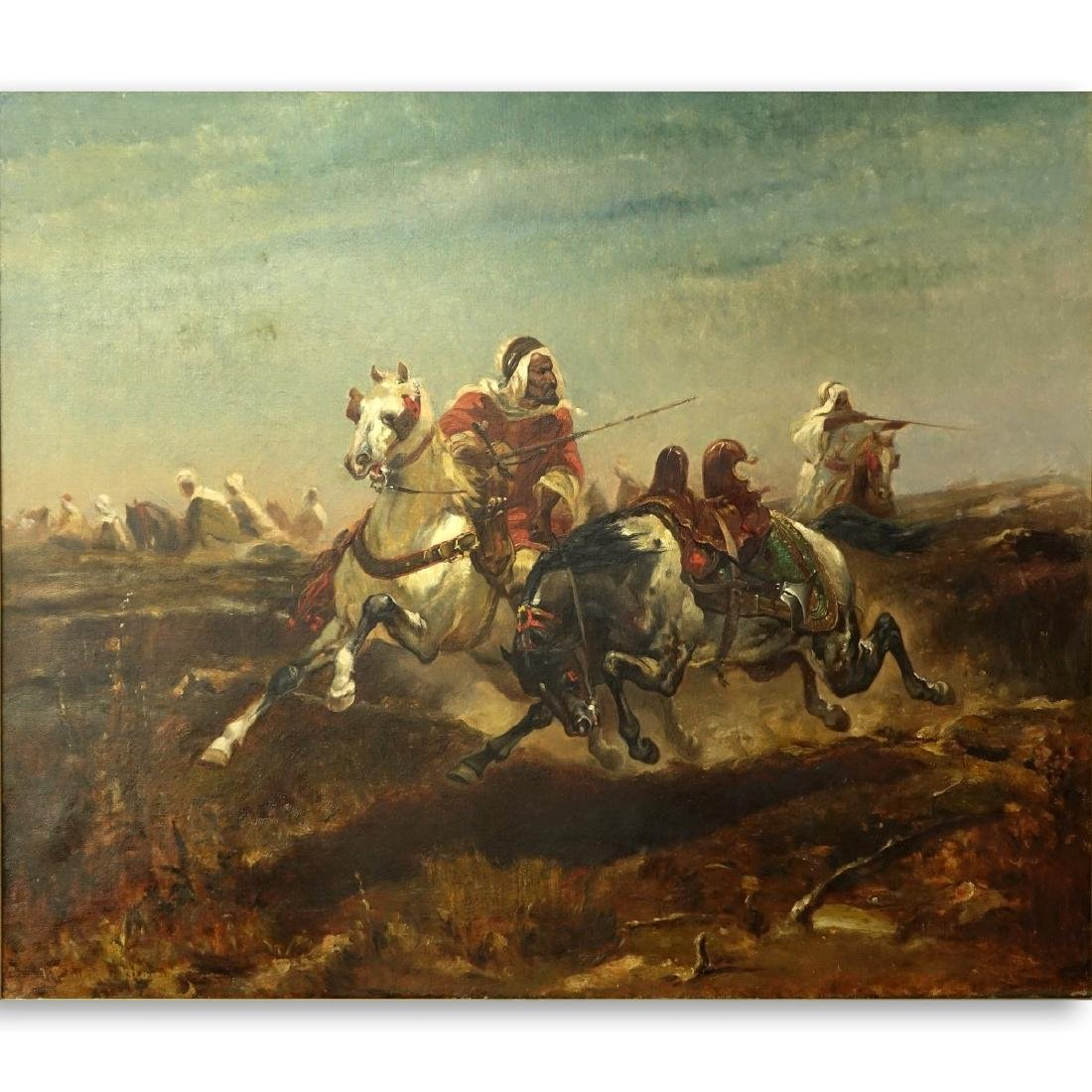"After: Adolf Schreyer Oil/Canvas ""Arabian Warriors"