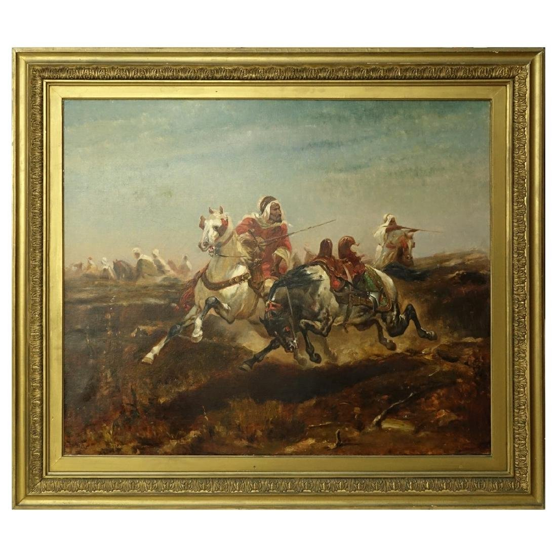 "After: Adolf Schreyer Oil/Canvas ""Arabian Warriors - 2"