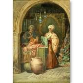 """Ciro Mazini (19/20th C) Watercolor """"The Bazaar"""""""