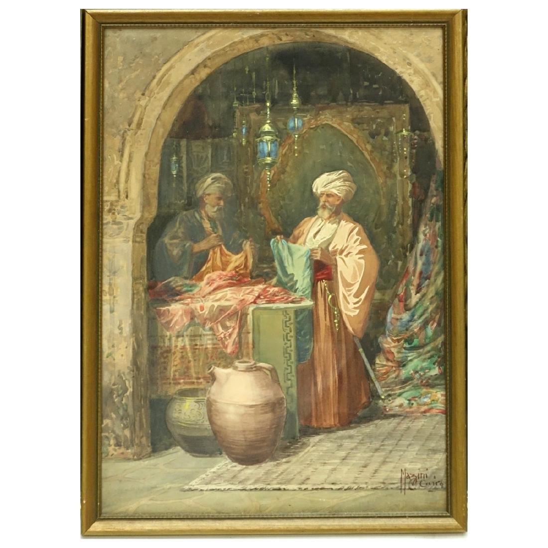 """Ciro Mazini (19/20th C) Watercolor """"The Bazaar"""" - 2"""