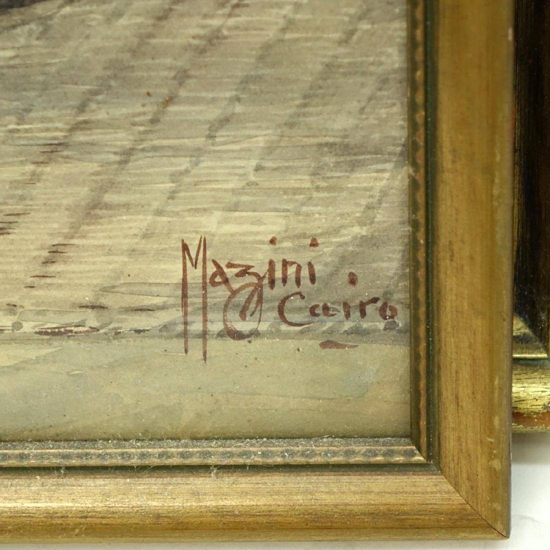 """Ciro Mazini (19/20th C) Watercolor """"The Bazaar"""" - 3"""