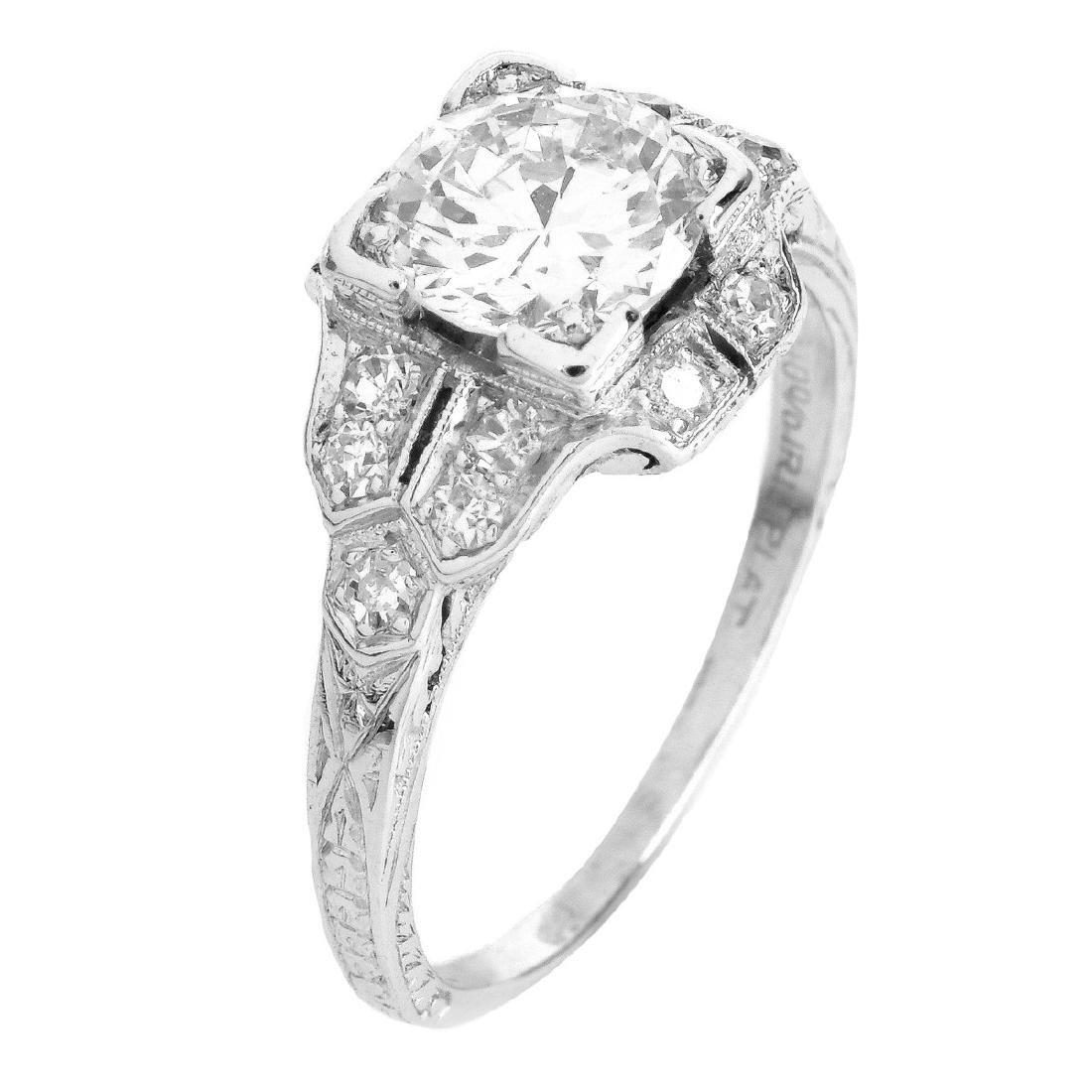 Art Deco 1.30 Carat TW Diamond and Platinum Ring
