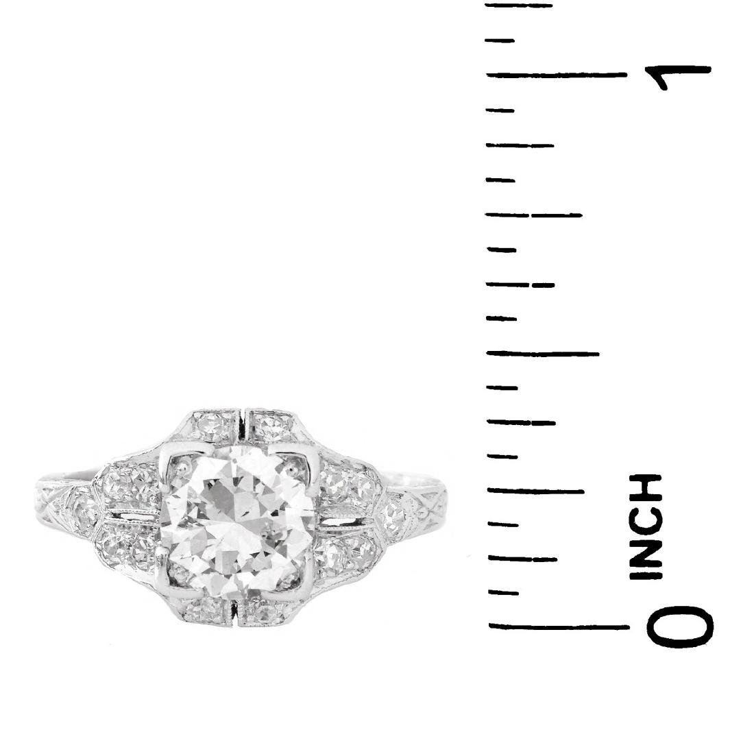 Art Deco 1.30 Carat TW Diamond and Platinum Ring - 5