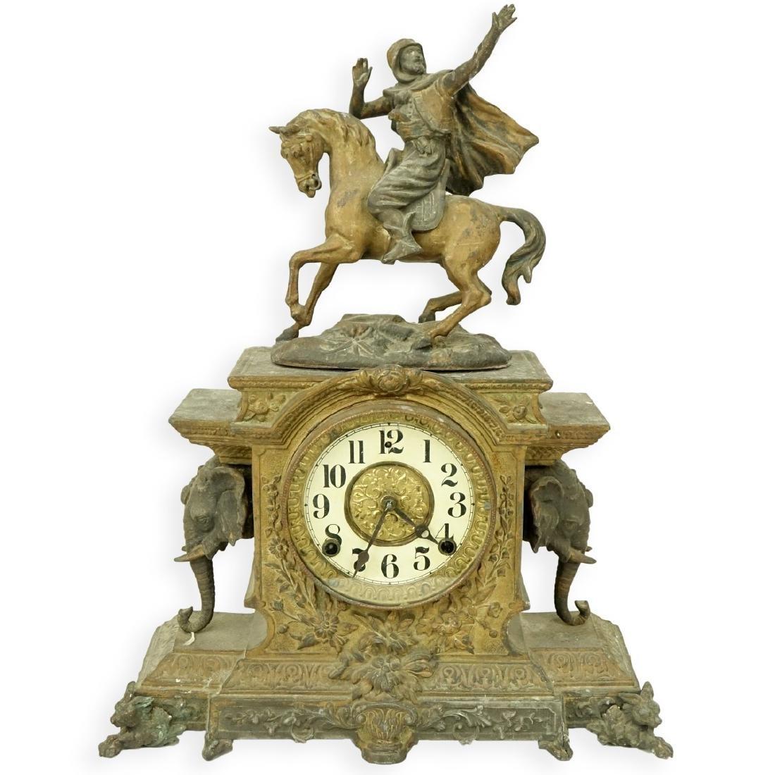 Antique Spelter Orientalist Figural Mantle Clock