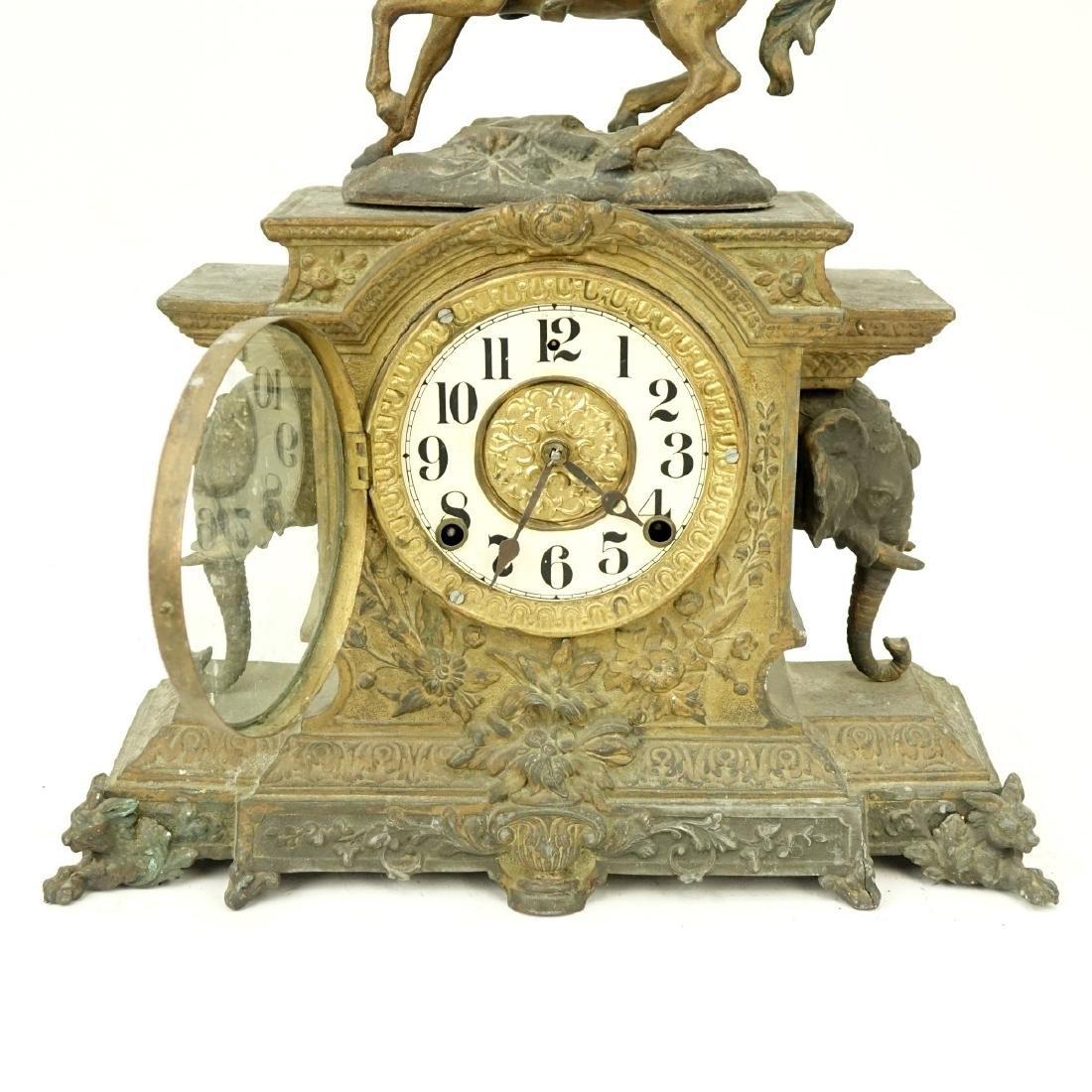 Antique Spelter Orientalist Figural Mantle Clock - 3