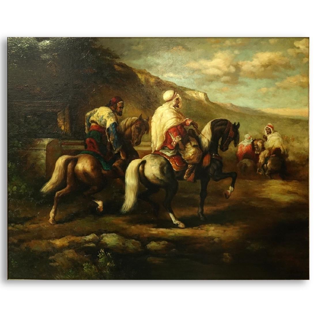 "Modern Orientalist O/C ""Bedouin Horsemen"""