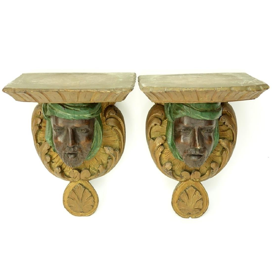 Pair of Carved Wood Arab Figural Wall Brackets