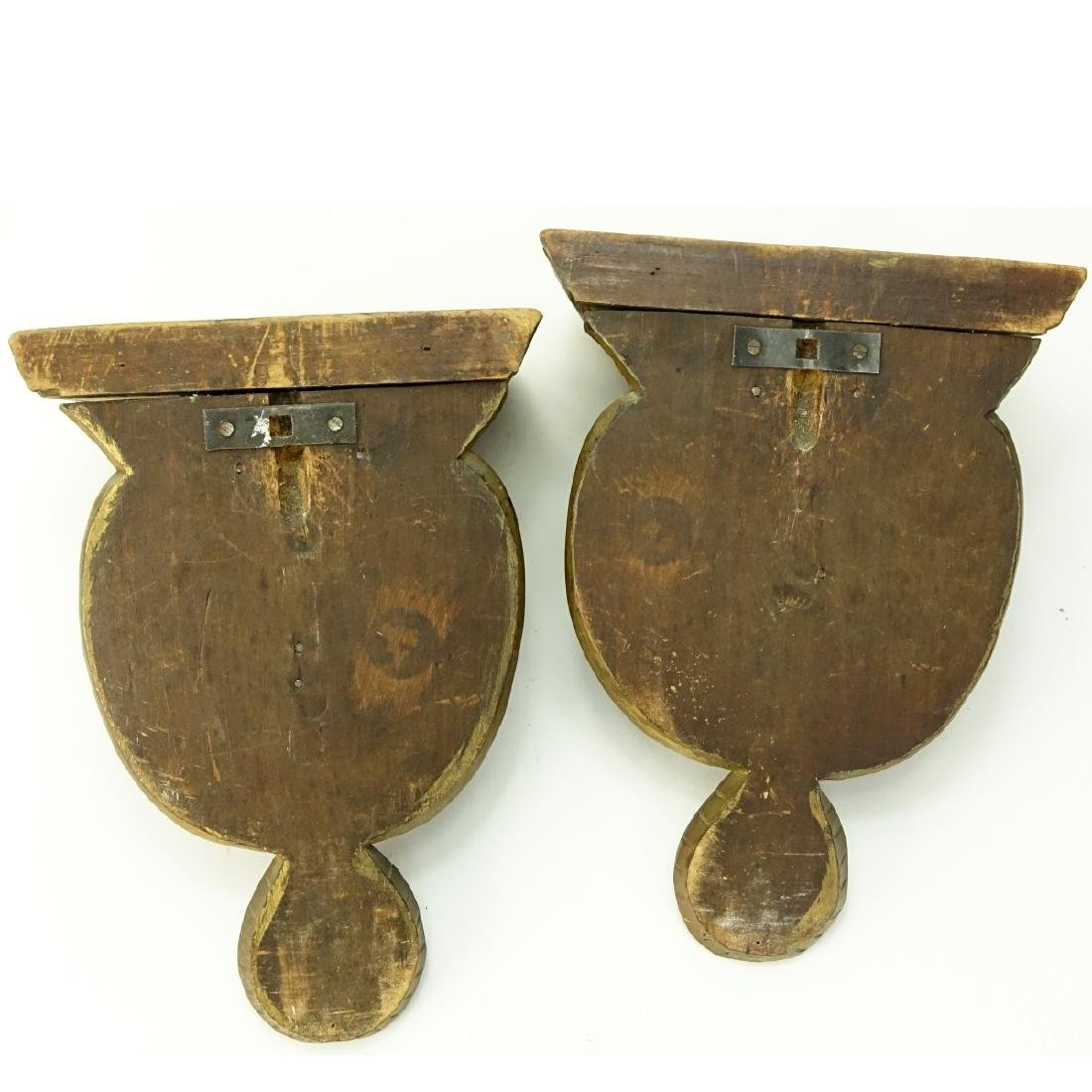 Pair of Carved Wood Arab Figural Wall Brackets - 4