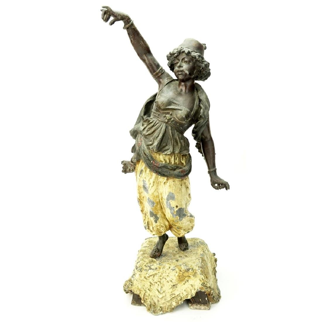 Antique Polychrome Spelter Orientalist Figure - 2