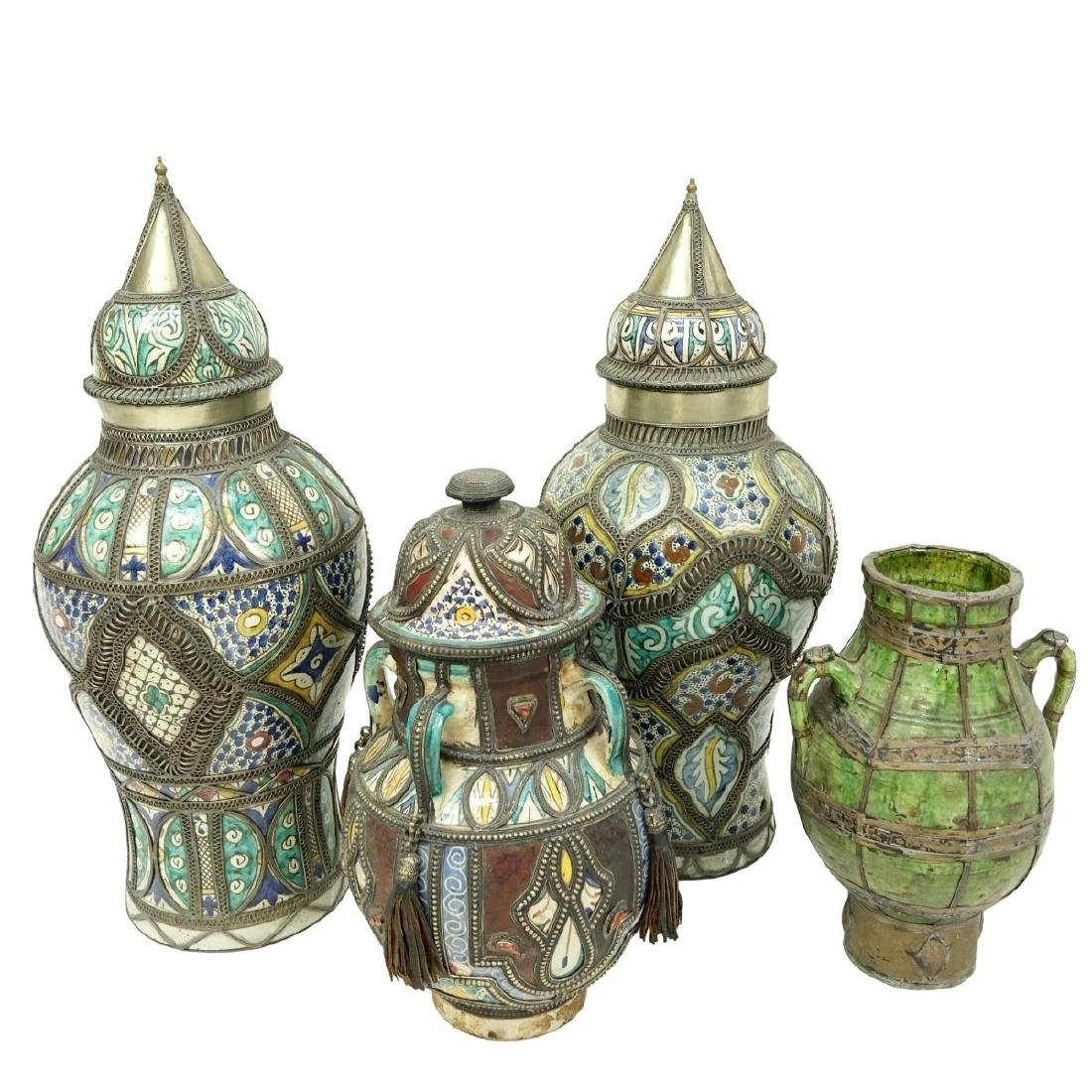 Grouping of Four (4) Moroccan Pottery Jars