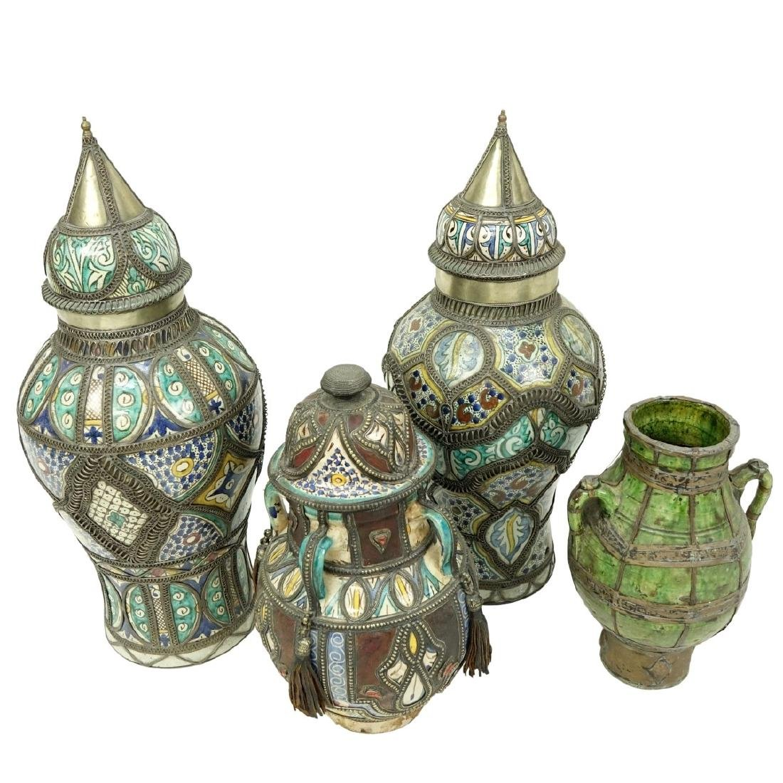 Grouping of Four (4) Moroccan Pottery Jars - 6