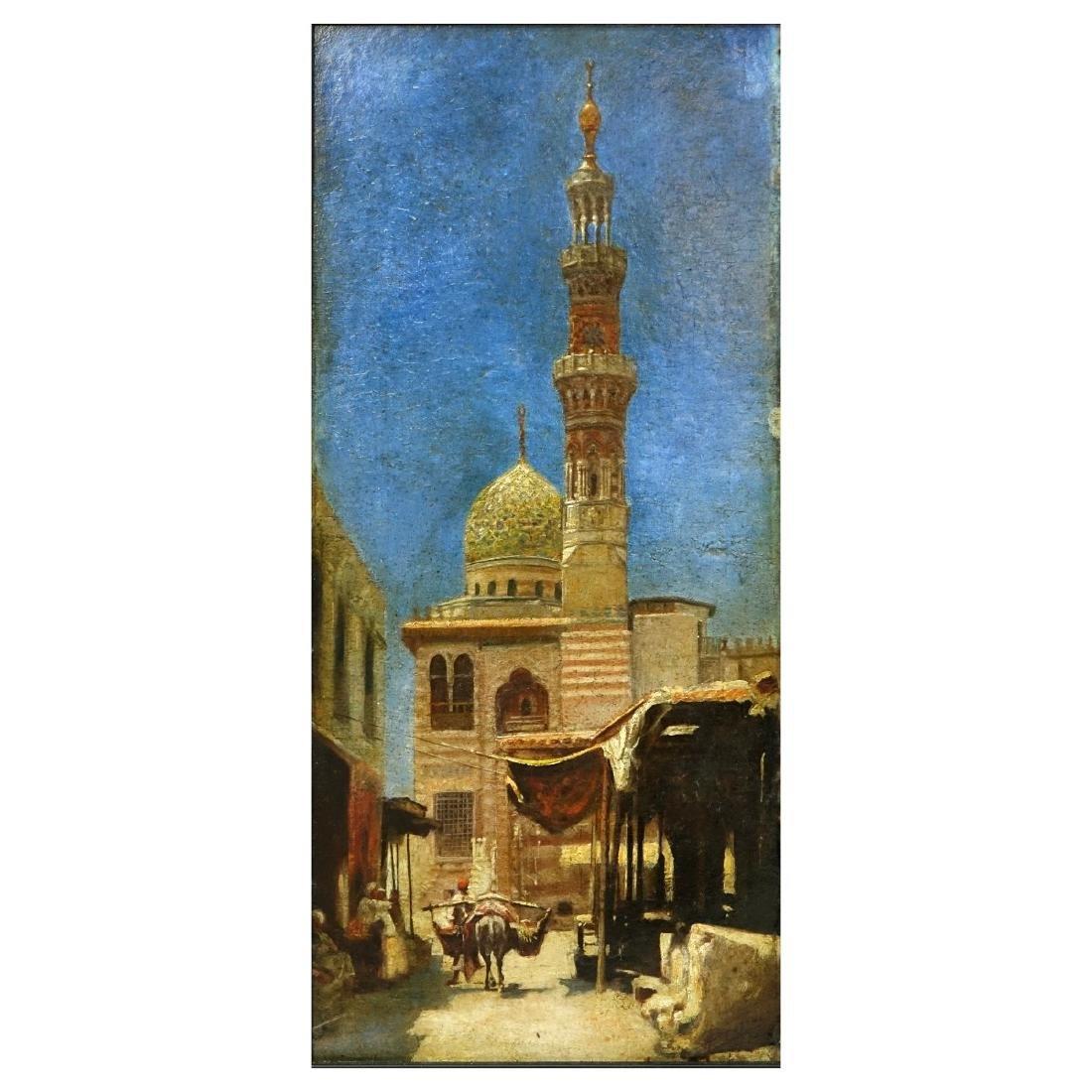 """19/20th C Orientalist School O/B """"Mosque"""""""