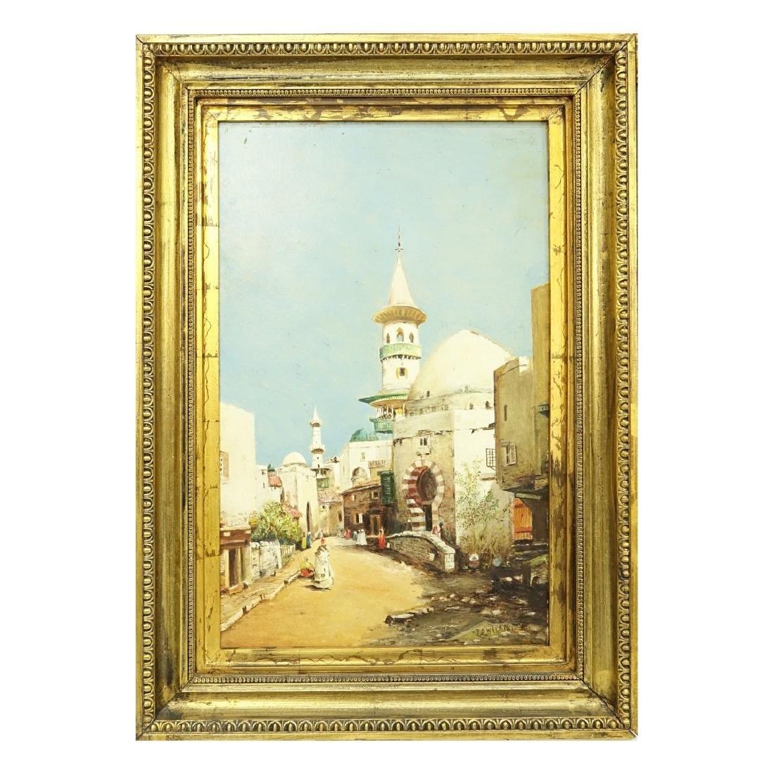 """Orientalist School Oil/Panel """"Tunisian Street"""" - 2"""