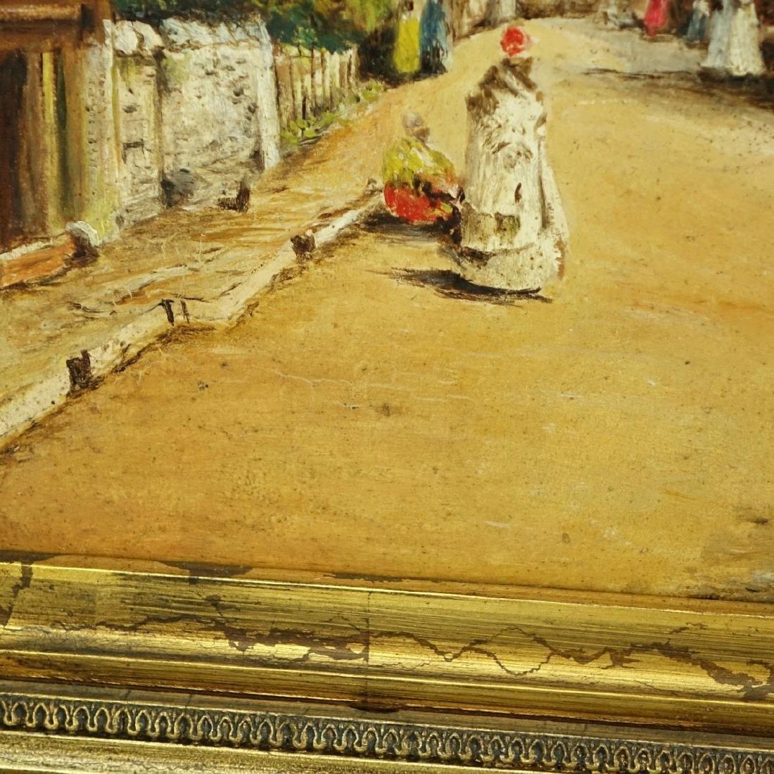 """Orientalist School Oil/Panel """"Tunisian Street"""" - 4"""