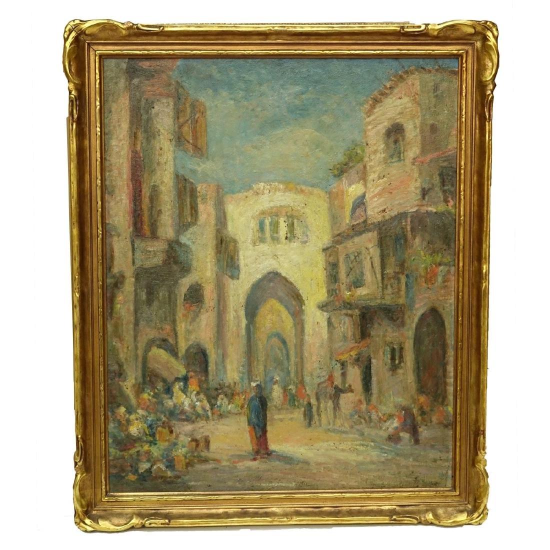 """Lucien Powell (1846 - 1930) O/B """"Market Scene"""" - 2"""