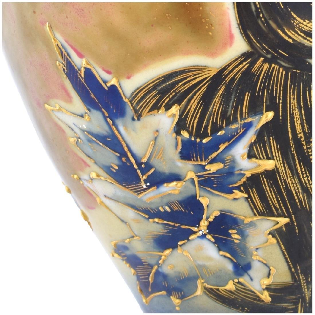 Turn Teplitz Amphora Porcelain Maiden Vase - 3