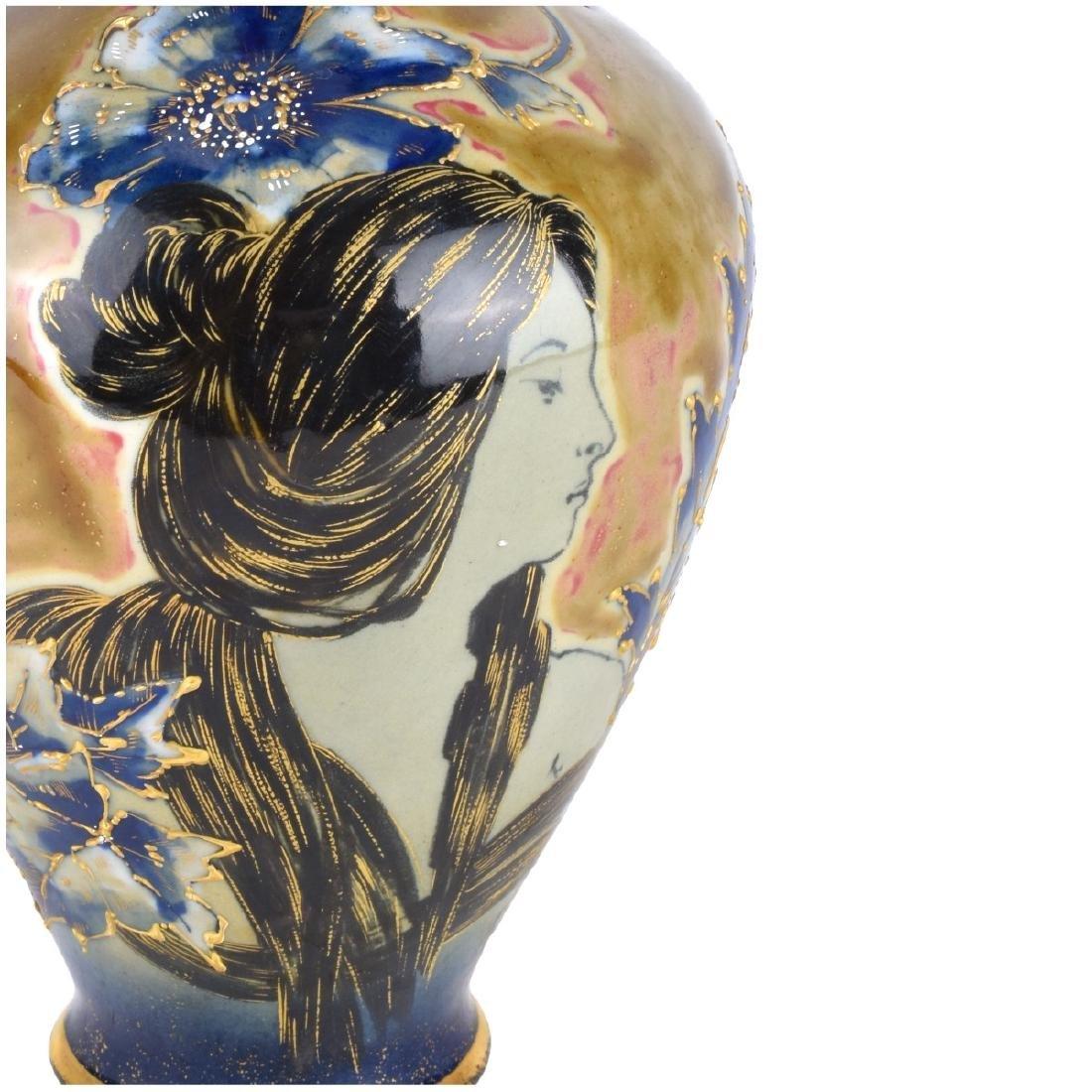 Turn Teplitz Amphora Porcelain Maiden Vase - 5