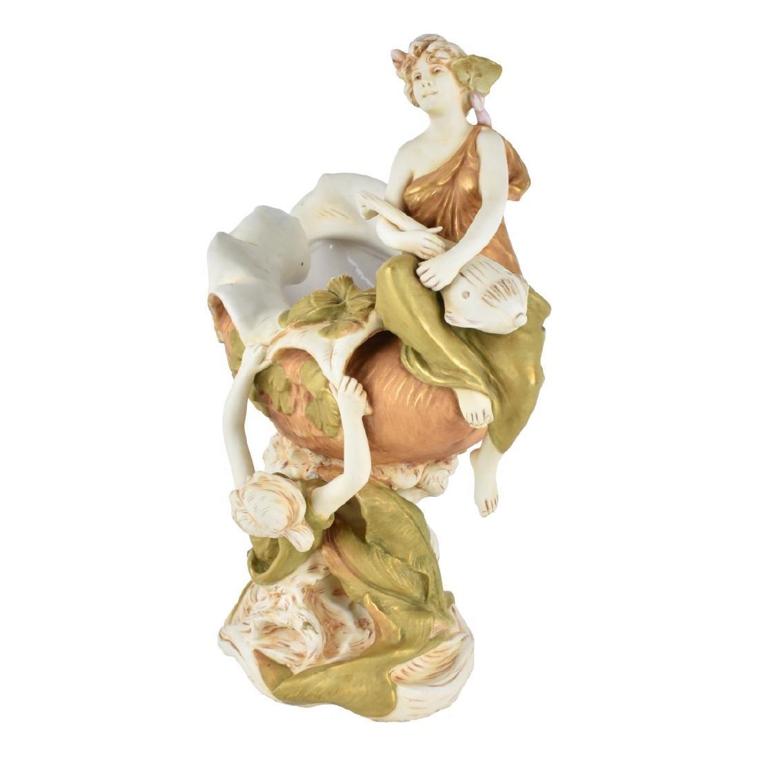 Large Royal Dux Porcelain Figural Centerpiece - 3