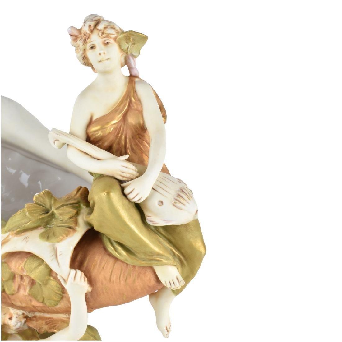 Large Royal Dux Porcelain Figural Centerpiece - 5