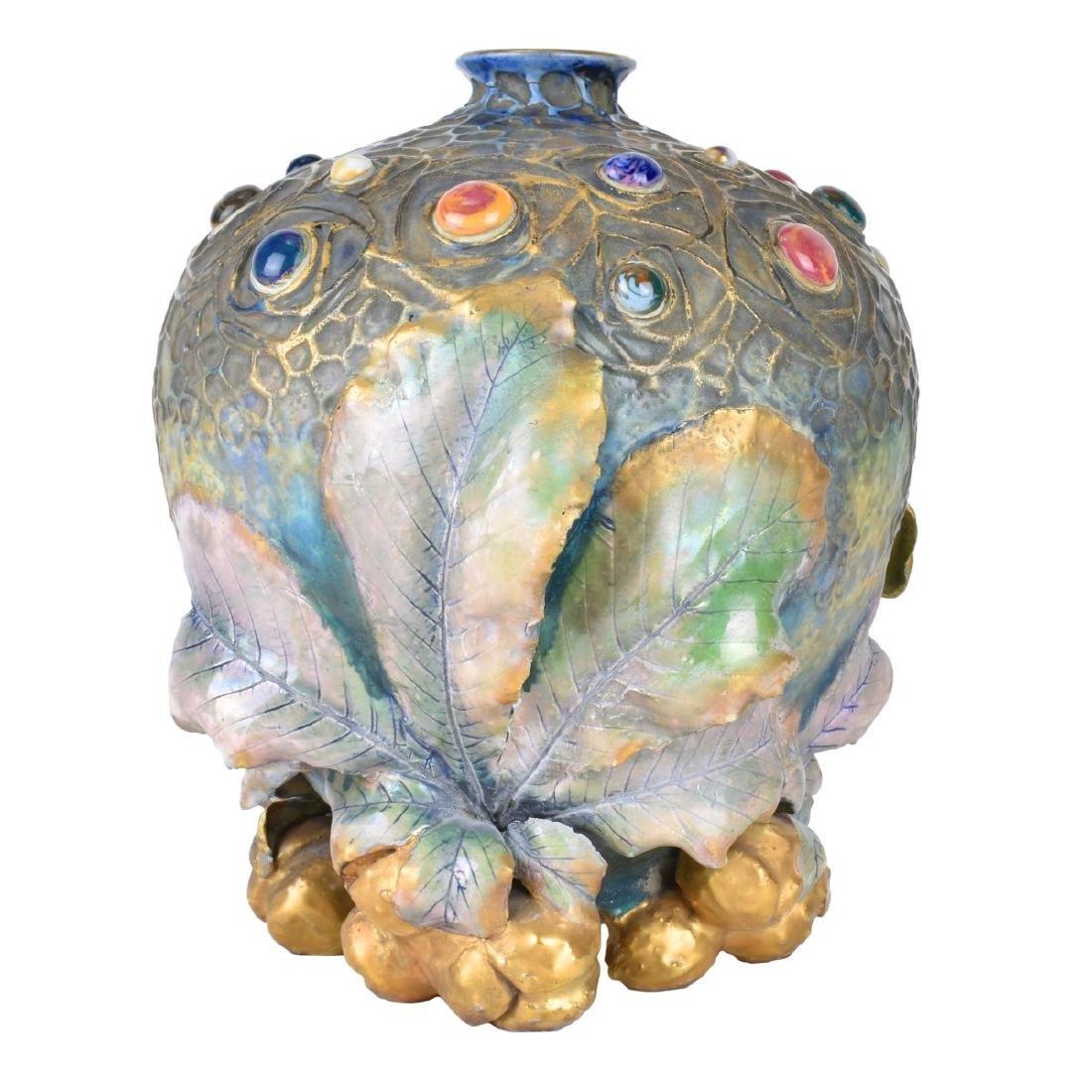 Amphora Art Nouveau Gres Bijou Chestnut Vase - 2