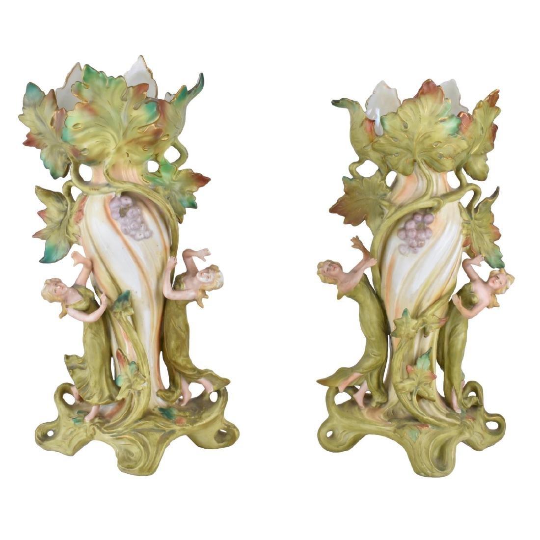 German Art Nouveau Figural Porcelain Vases