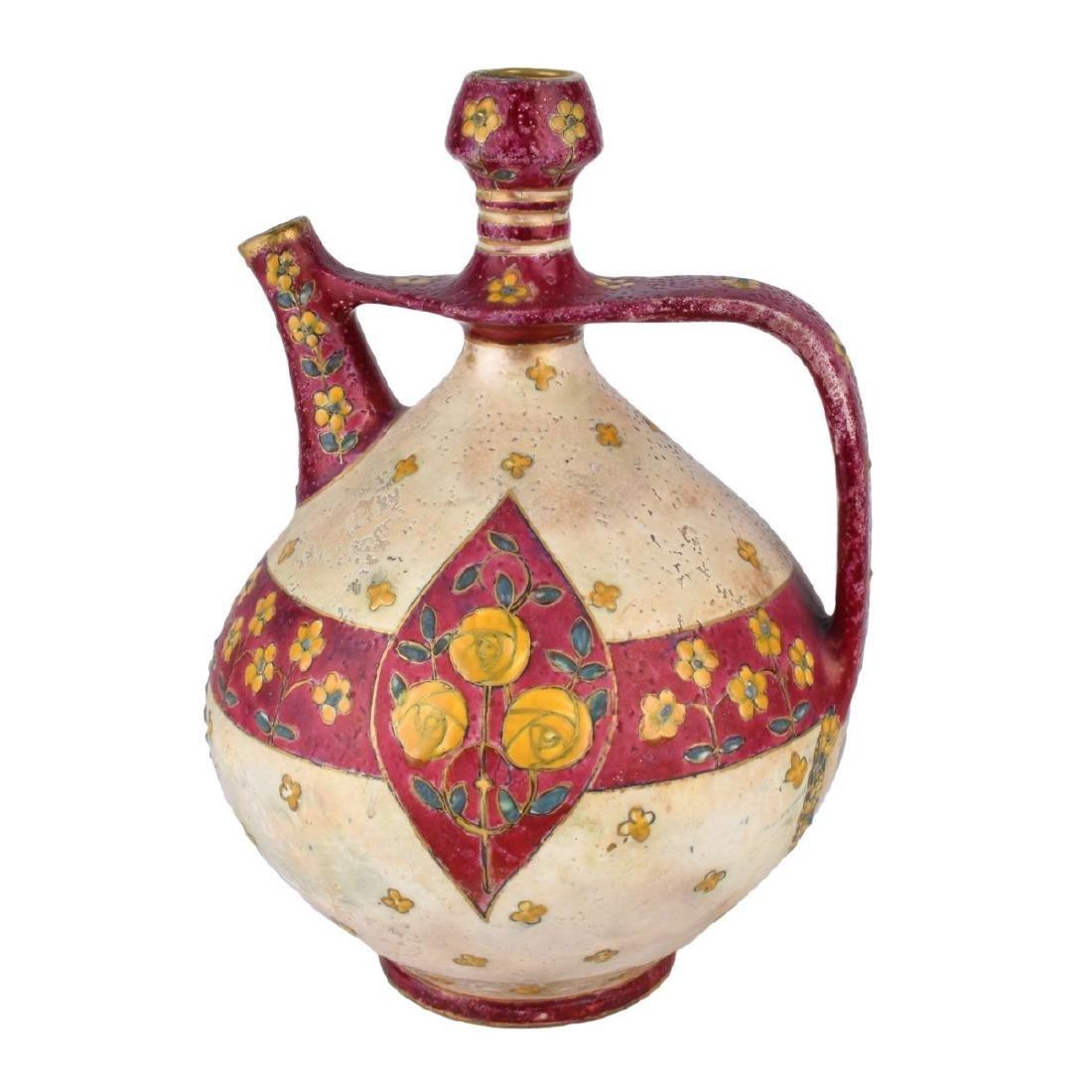 Large Amphora Enameled Pottery Pitcher
