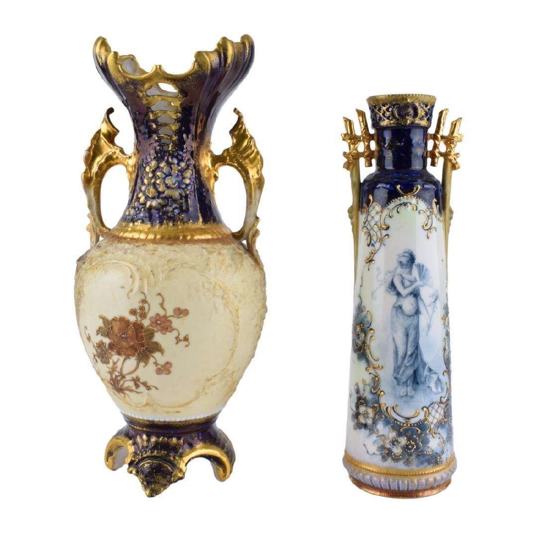 Two (2) Turn Teplitz Amphora Vases