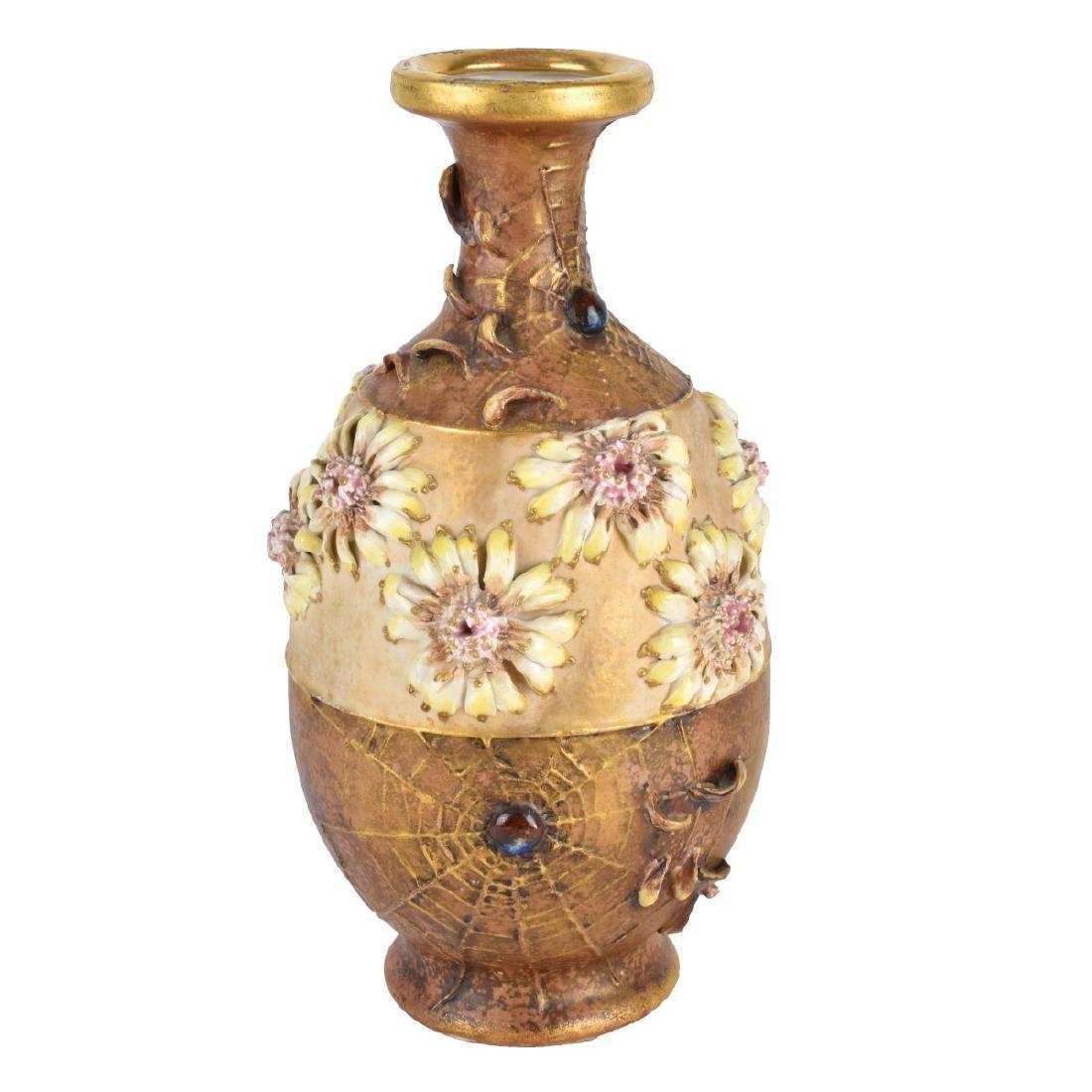 Amphora Art Nouveau Spiderweb and Daisy Vase