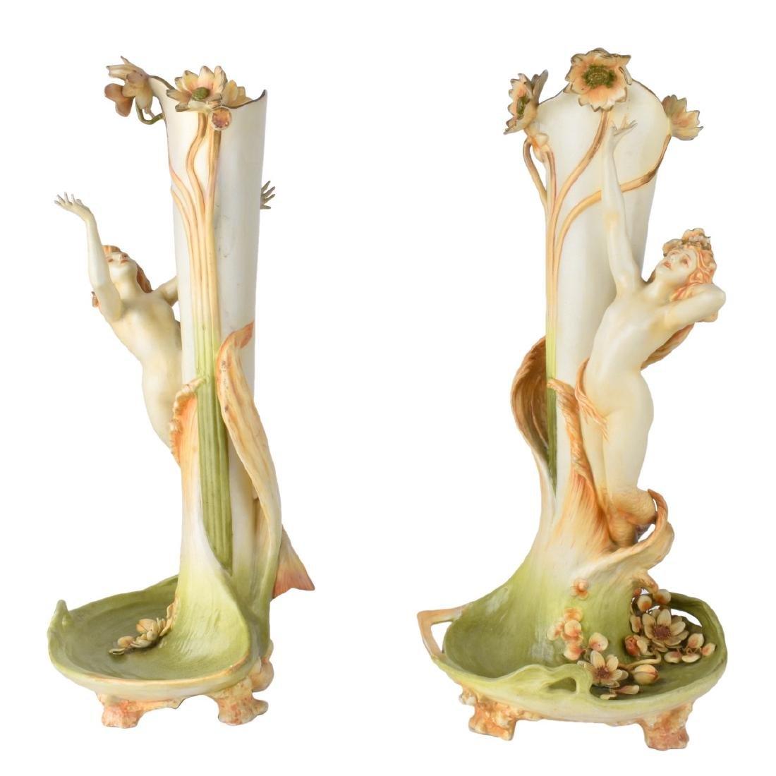 Art Nouveau Amphora Figural Vases
