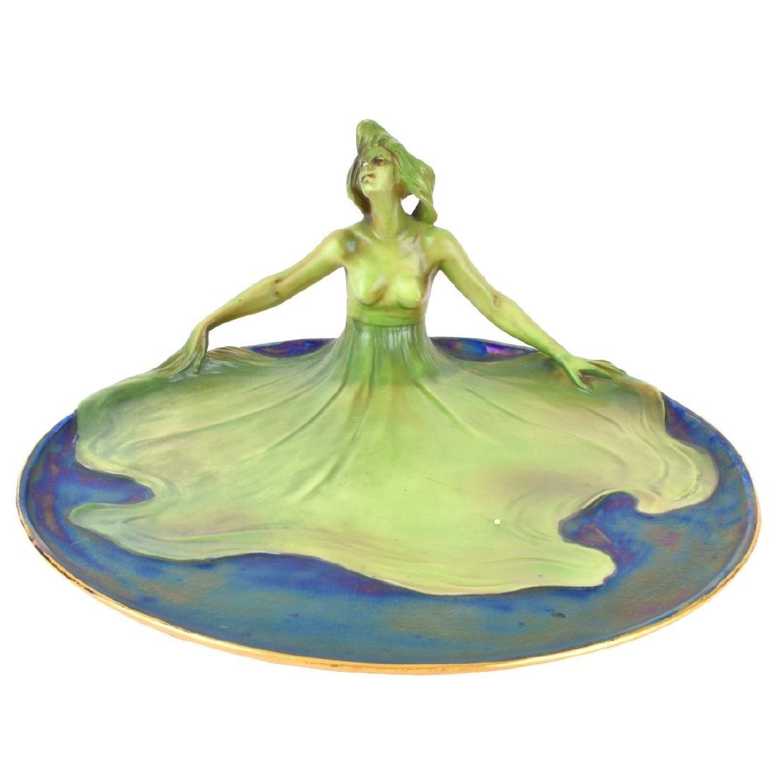 Art Nouveau Lusterware Figural Plate