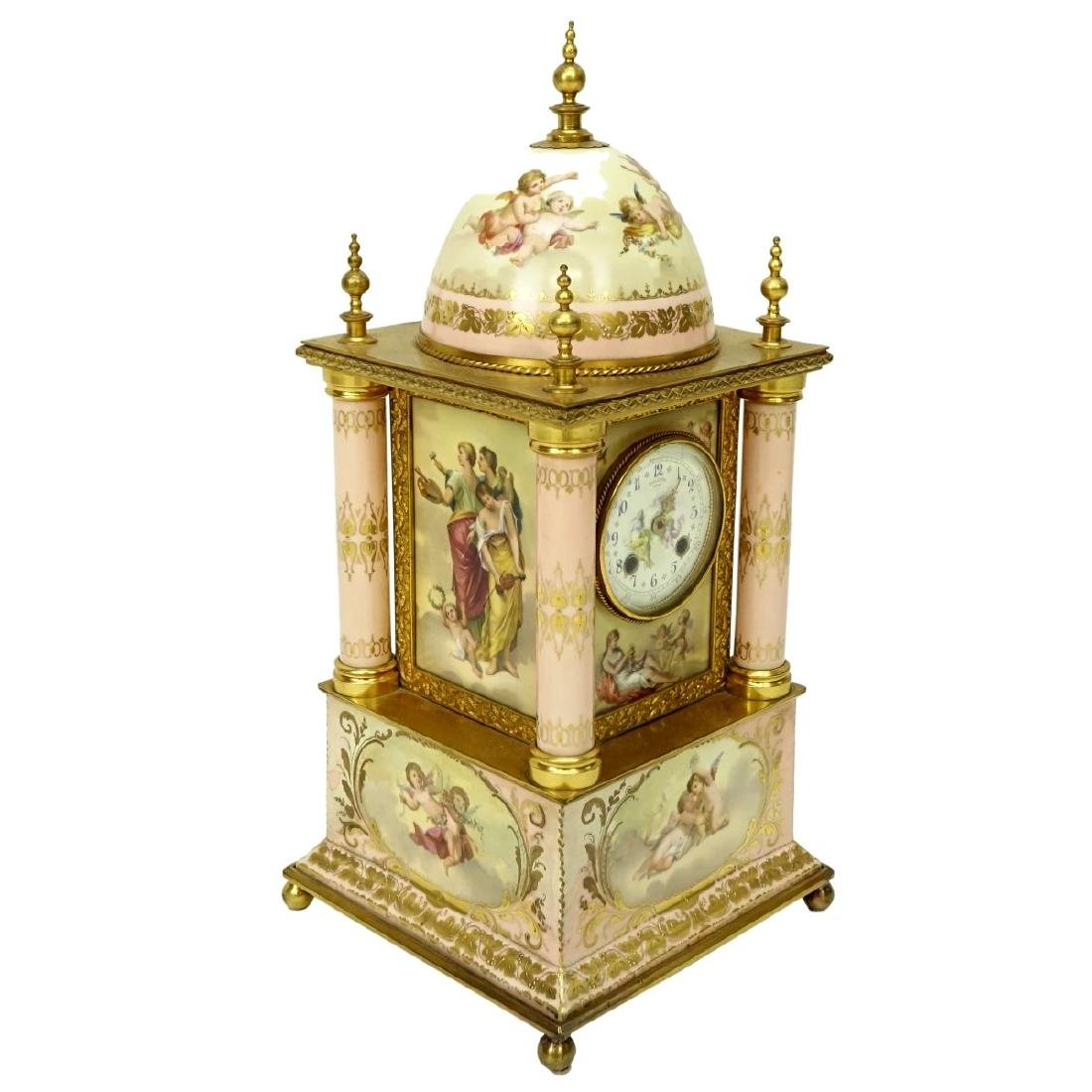 19th C. Royal Vienna Porcelain Mantle Clock - 2