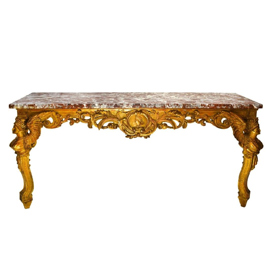 19th Italian Giltwood Carved Console Table