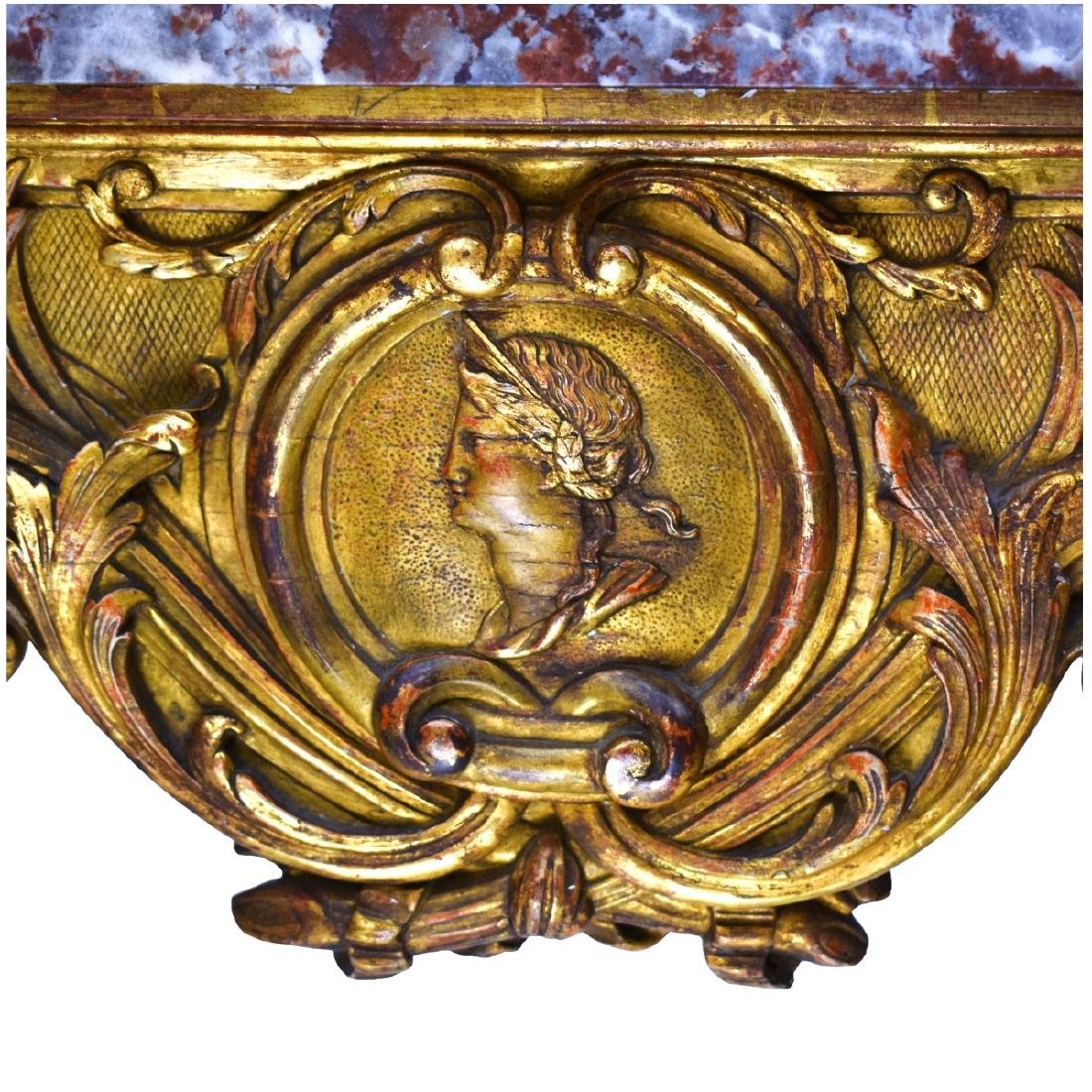 19th Italian Giltwood Carved Console Table - 4