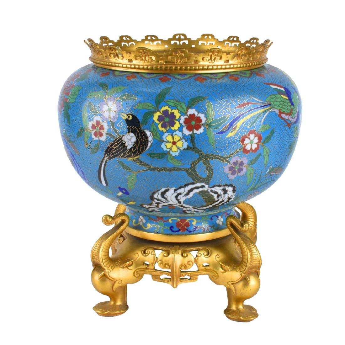 Chinese Cloisonne Bowl With Gilt Brass Mounts